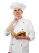 Chef thinking with book recipe isolated on white