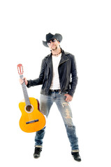 young rocker man with a guitar, white background