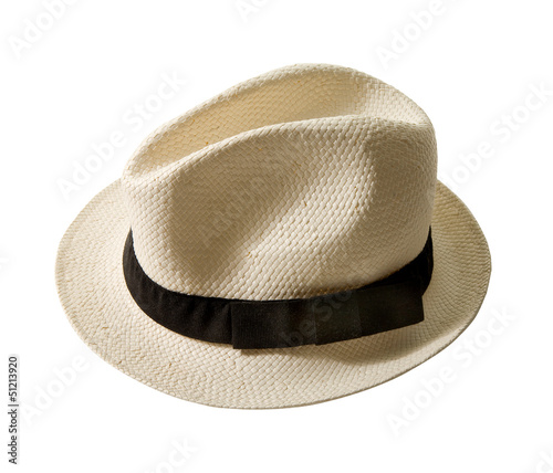 Raffia fedora hat with black band