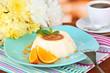 Panna Cotta with orange zest and caramel sauce,