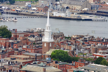 Boston North End and Old North Church Aerial view, Boston, USA