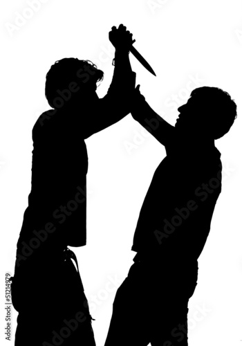 Silhouette of a an attack with a knife