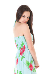 attractive woman in summer dress