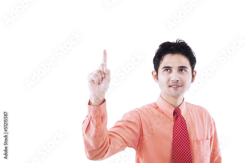 Businessman raise hand - isolated