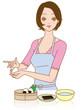 料理する女性 おにぎりを作る