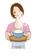 炊き立てのご飯渡す女性
