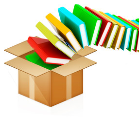 colorful real books in cardboard box on white