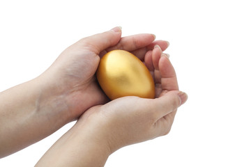 The golden egg in the hands