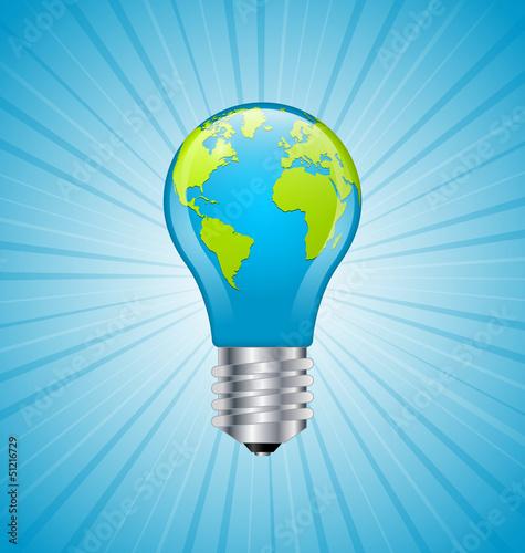 Light bulb earth icon