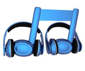 blue headphones and note icon