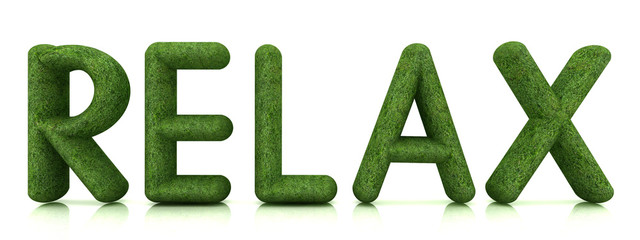 """word """"Relax"""" from the green grass  on white"""