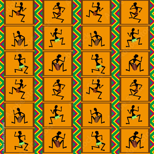 Seamless pattern - dance of black people, vector illustration
