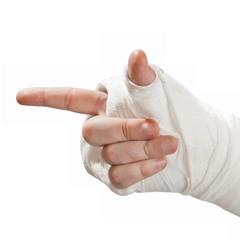Broken arm in a cast. Finger pointing aside