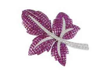 Leaf brooch on white background