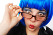 canvas print picture - girl with blue wig looking astonished