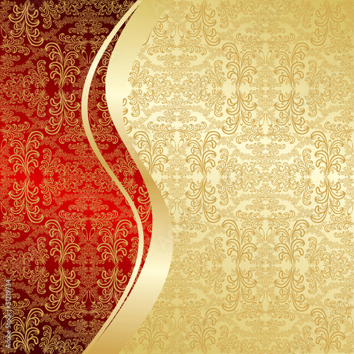 Luxury Background decorated a vintage pattern: gold and red