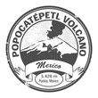 Stamp with words Popocatepetl Volcano, Mexico, vector