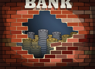 Hole in bricks wall and gold coins, vector illustration