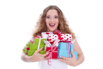 Frau im Einkaufsrausch