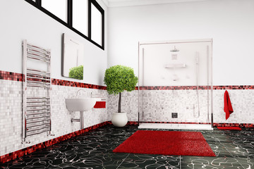 Bathroom in red, white and black closeup
