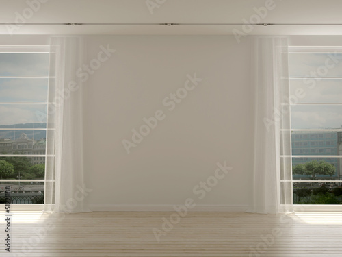 A modern room with two large windows