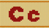 Vector Red knitted alphabet. Letter C