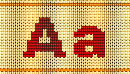 Vector Red knitted alphabet. Letter A