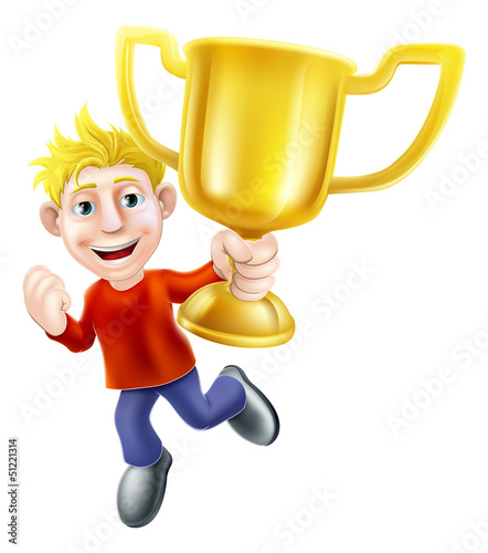 Cartoon man and winners trophy