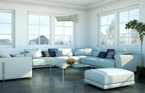 modernes Wohnzimmer in Stadtwohnung