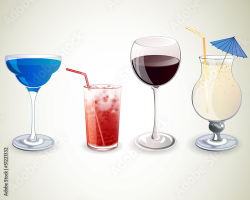 Vector Illustration of Cocktails