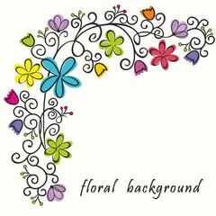 Floral border. Summer background.