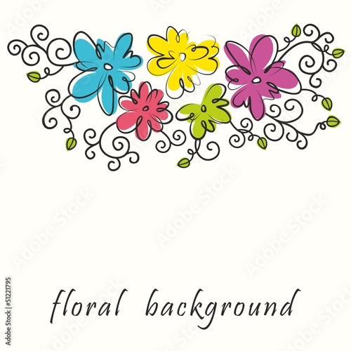 Floral background. Bouquet of abstract flowers.