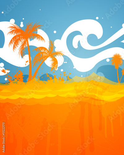 Vector Illustration of an Abstract Summer Background