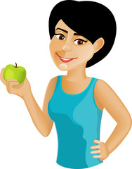Black-haired girl with an apple