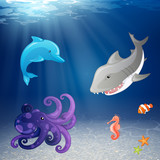 Vector Illustration of Sea Creatures