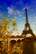 Beautiful colors and vegetation near Eiffel Tower and Seine rive