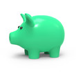 Green piggy bank side view