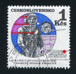 Astronaut and Vostok satellite
