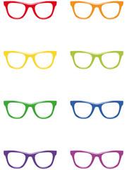 Freigestellte Nerdbrillen in Regenbogenfarben – Vektor