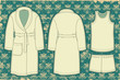 Bathrobe and unredwear for man.Vector illustration on vintage wa