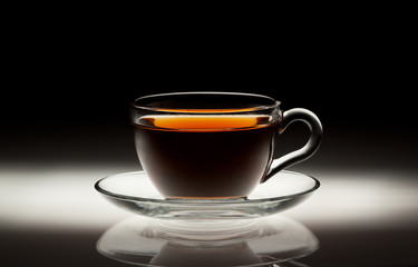 Tea cup on abstract background