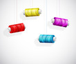 Bobbins of colorful thread
