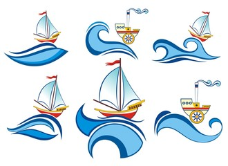 Collection of stickers and labels with waves and ships