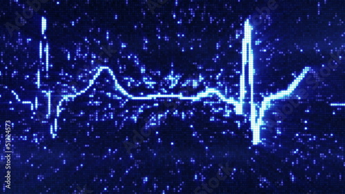 digital pixel EKG blue loopable background