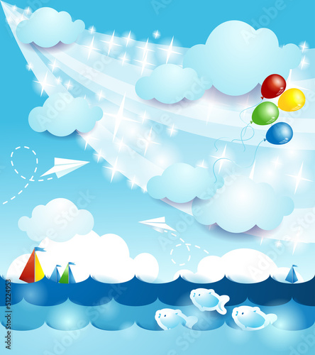 Seascape, vector background