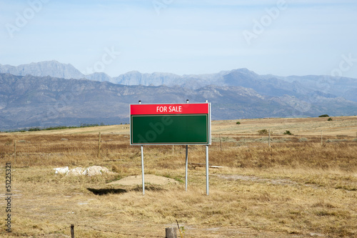 Land for sale board. Western Cape South Africa