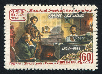 Pushkin and Zhukovsky Visiting Glinka