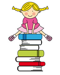 Girl jumping some books