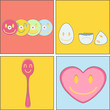 collection of CD, spoon, heart and egg. Vector design