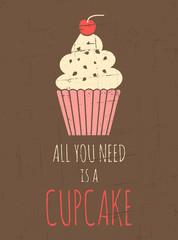 Retro Cupcake Poster